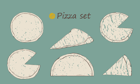 Grange Pizza of different types set,slice for design . Иллюстрация