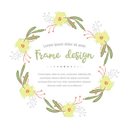 Kranz mit Blättern und gelben Blüten auf weißem Hintergrund. Vektorgrafik