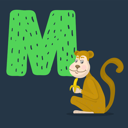 Monkey vector character with letter M