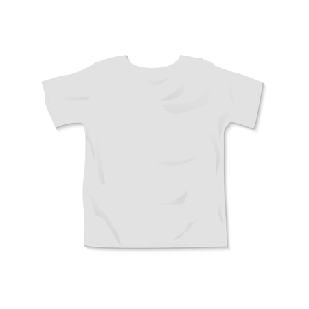 Vector t shirt mockup template with shadow top view illustration isolated on  a white background 矢量图像