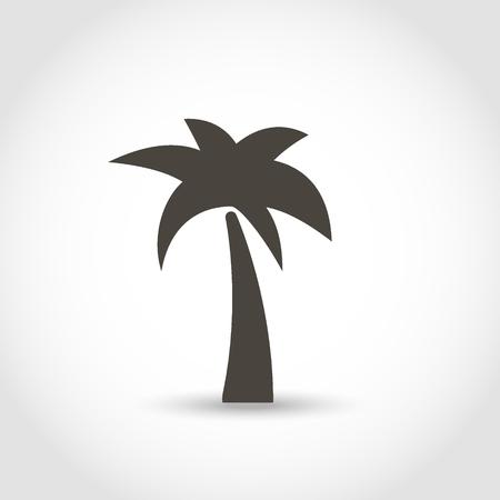 Palmera silueta negra aislado sobre un fondo blanco.
