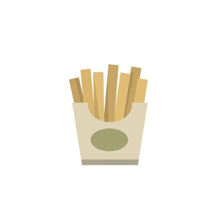Franch fries street fast food illustration in flat style isolated on a white background