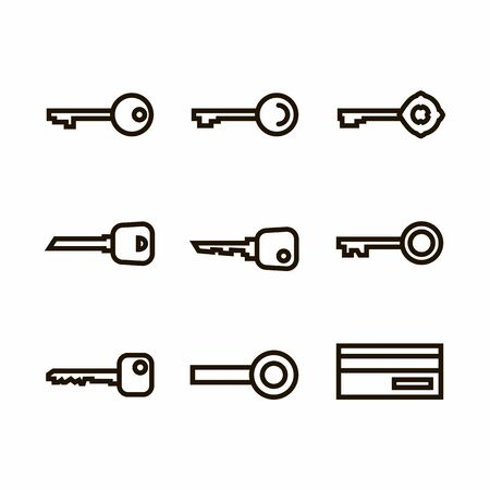 Vector Keys set icon,sign,pictogram,symbol in black thin line style isolated on a white background.Safety outline icon