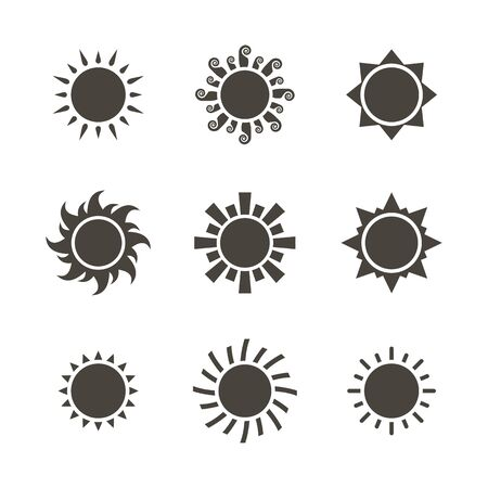 Vector black sun icon set isolated on a white background  flat syle Ilustrace