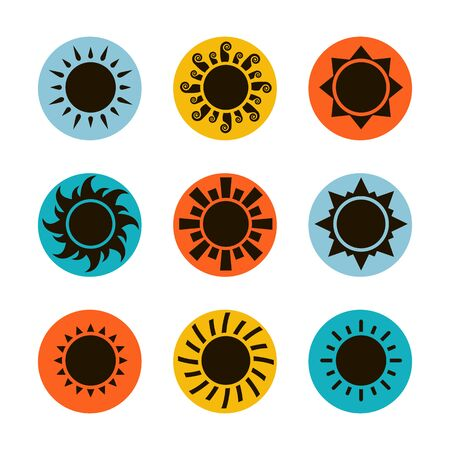Vector black sun icon set isolated on a background Ilustrace
