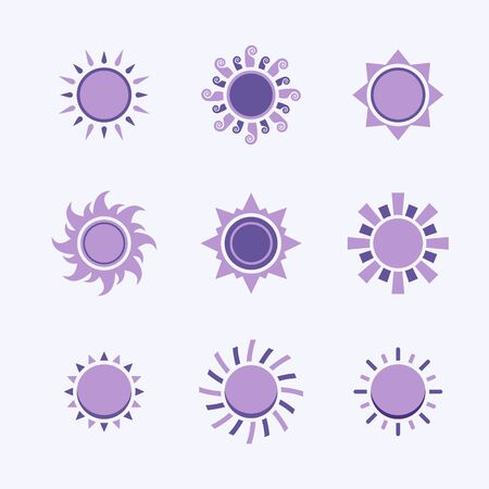 Vector purple sun icon,sign,pictogram,symbol  set isolated on a white background  modern syle