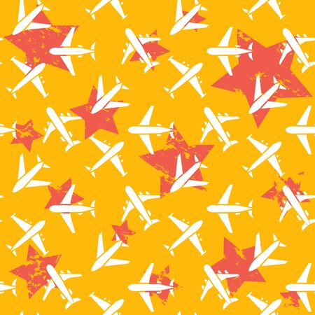 Plane seamless pattern  isolated on a yellow  background  white flat  style.Airplane silhouette,model plane.Fly and jet  collection