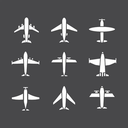 Plane icon,sign,pictogram,symbol  white set isolated on a brown   background  flat   style.Airplane silhouette,model plane.Fly and jet  collection
