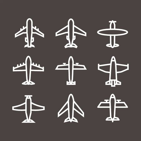 Plane icon,sign,pictogram,symbol  white set isolated on a brown  background  thin line or outline  style.Airplane silhouette,model plane.Fly and jet  collection