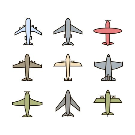 Plane icon,sign,pictogram,symbol  colorful set isolated on a white  background  flat and thin line or outline  style.Airplane silhouette,model plane.Fly and jet  collection