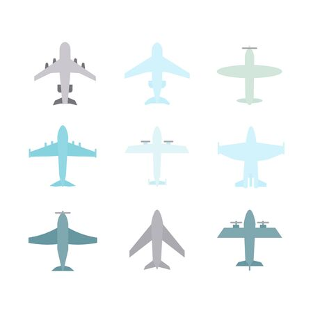 Plane icon,sign,pictogram,symbol  colorful  set isolated on a white  background  flat   style in blue tones .Airplane silhouette,model plane.Fly and jet  collection Иллюстрация