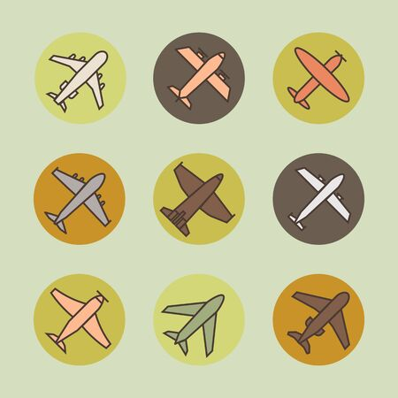 Plane icon,sign,pictogram,symbol  colorful set isolated on a circle   background  in flat  style.Airplane silhouette,model plane.Fly and jet  collection Иллюстрация