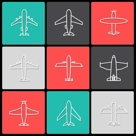 Plane icon,sign,pictogram,symbol  white with shadow  set isolated on a square  background  thin line or outline  style.Airplane silhouette,model plane.Fly and jet  collection Фото со стока - 125913620