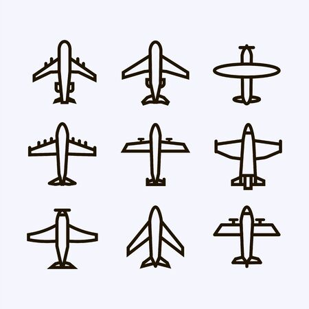 Plane icon,sign,pictogram,symbol  black set isolated on a white  background  bold  line or outline  style.Airplane silhouette,model plane.Fly transport collection Illustration