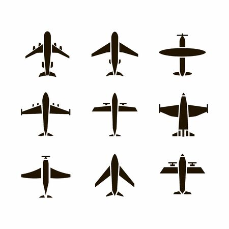 Plane icon,sign,pictogram,symbol  black set isolated on a white  background  flat  style.Airplane silhouette,model plane.Fly and jet  collection