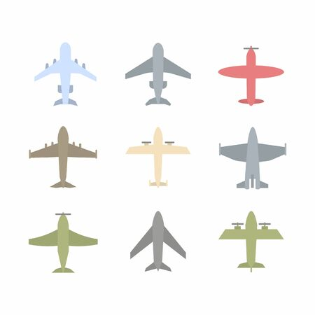 Plane icon,sign,pictogram,symbol  colorful set isolated on a white  background  flat style.Airplane silhouette,model plane.Fly and jet  collection
