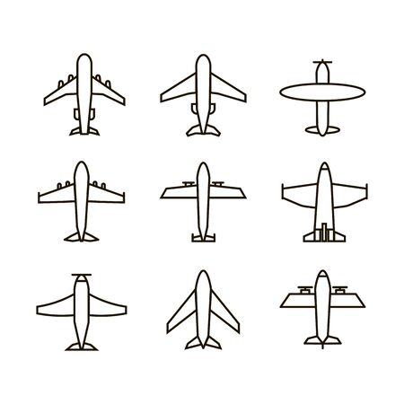 Plane icon,sign,pictogram,symbol  black set isolated on a white  background  thin line or outline  style.Airplane silhouette,model plane.Fly and jet  collection