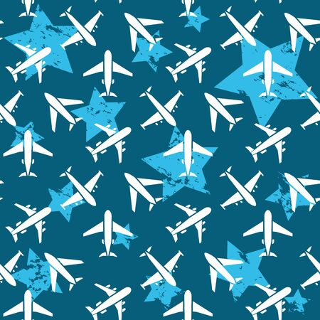 Plane seamless pattern  isolated on a blue background  white flat  style.Airplane silhouette,model plane.Fly and jet  collection
