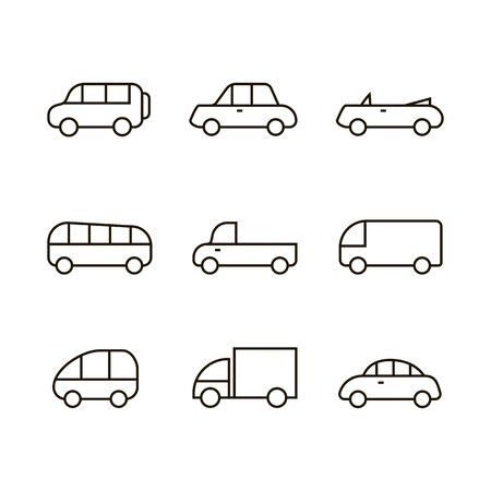 Car transport icon,sign,pictogram,symbol  set black isolated on a white background  flat  style