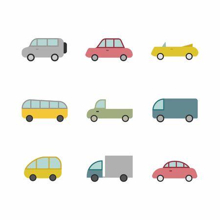 Autotransport-Symbol, Zeichen, Piktogramm, Symbolsatz isoliert auf einem flachen Hintergrundstil