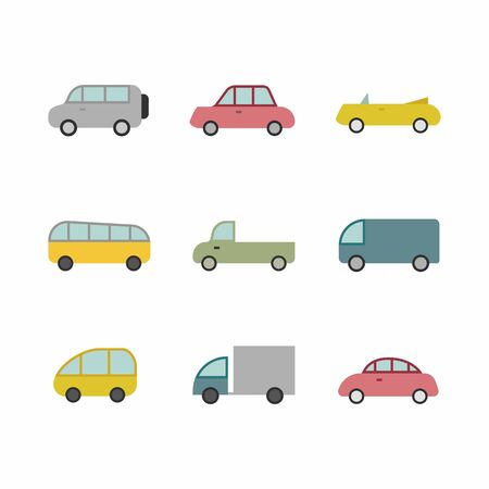 Car transport icon,sign,pictogram,symbol set isolated on a background flat style