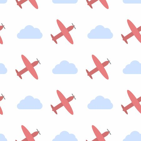 Vector seamless pattern with clouds and planes
