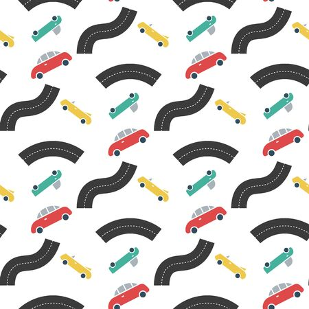 Car transport with road seamless pattern 向量圖像