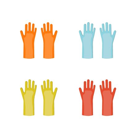 Vector rubber gloves in different colors equipment for cleaning isolated on a white background in flat style