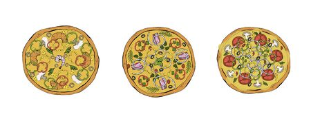 Pizza vector set . Margarita and pepperoni, seafood. Italian food with cheese and tomato in pizzeria or pizza house illustration set of baked pie in Italy. Vegetarian meal. Çizim