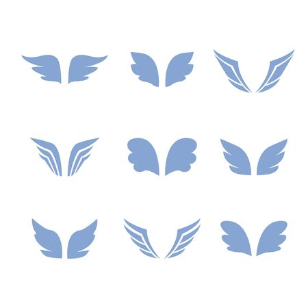 Wings icon set birds and angel 向量圖像