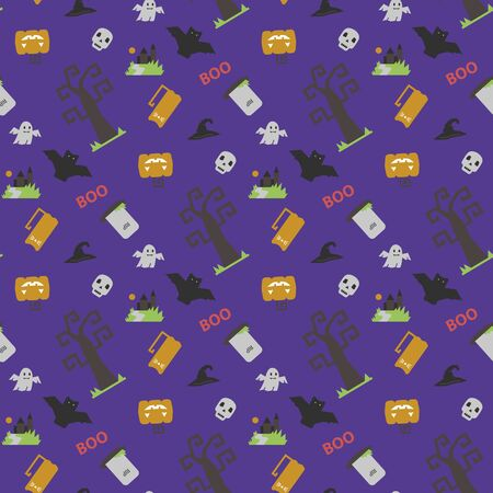 Seamless vector pattern with Halloween themed elements a sinister bat,pumpkin, tombstone,grave, skull, witch hat on a dark background with text boo 向量圖像