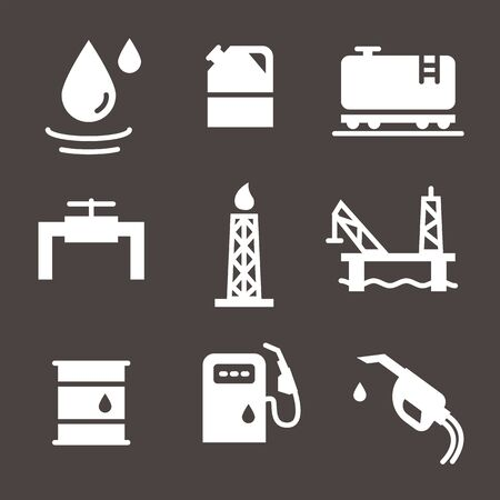 Vector Oil and petrol industry objects icons set Illustration