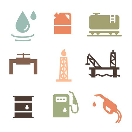Vector Oil and petrol industry objects icons set Stok Fotoğraf - 131553398