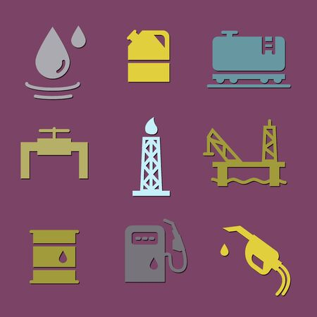 Vector Oil and petrol industry objects icons set 向量圖像