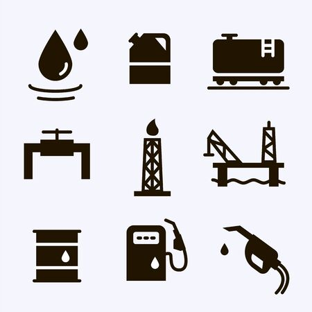 Vector Oil and petrol industry objects icons set Stok Fotoğraf - 131553968