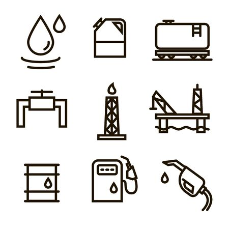 Vector Oil and petrol industry objects icons set Stok Fotoğraf - 131553852