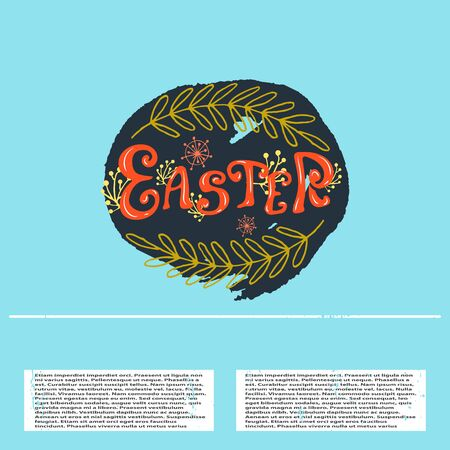 Vector Easter banner with lettering text and outline
