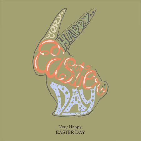Vector Lettering Very Happy Easter Day text in a sign
