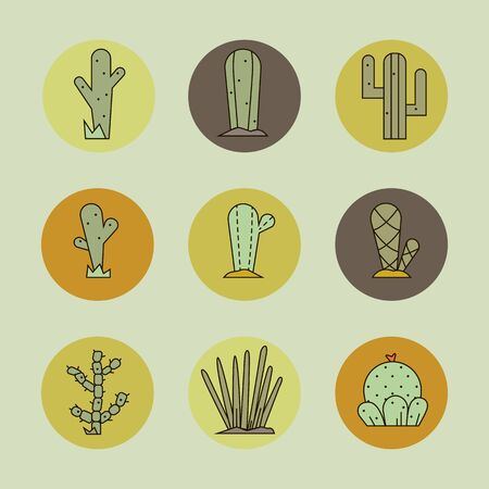 Cactus icon set.Vector collection of exotic plants.Decorative natural plant elements in yellow colors isolated on a  background in flat and line  style. 版權商用圖片 - 132752007