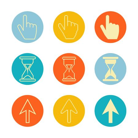 Cursors icons ,sig,symbol ,pictogram set Pixel cursors ,mouse hand arrow hourglass isolated on a white background  on a colorful circle in outline or thin line style