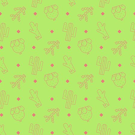 Cactus seamless pattern .Vector exotic plants.Decorative natural plant elements on a green background in flat style.