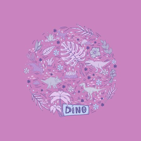 Dinosaur set  in a circle isolated on a pink background