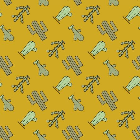 Cactus vector seamless pattern 向量圖像