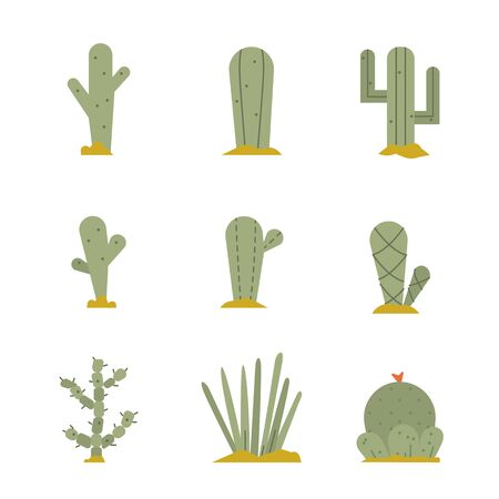 Cactus icon set.Vector collection of exotic plants.