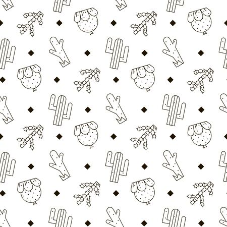 Cactus vector seamless pattern 版權商用圖片 - 132752016
