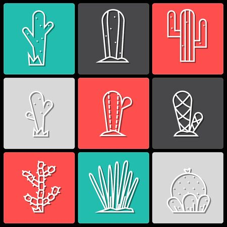 Cactus icon set.Vector collection of exotic plants.Decorative natural plant elements white colors with shadow  isolated on a background in thin line style. 向量圖像
