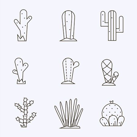 Cactus icon set.Vector collection of exotic plants.Decorative natural plant elements black colors  isolated on a white background in thin line style.