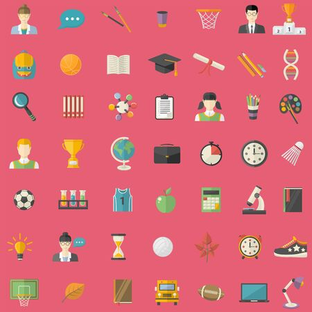 Big  Education, knowledge icons set in flat style  isolated on a red background