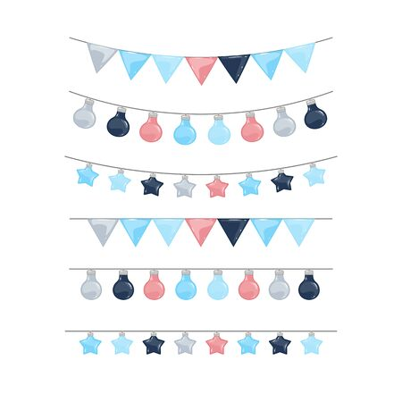 Vector garland set isolated on a white background
