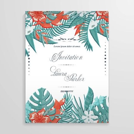 Tropical plants and  flower  vector  invitation 版權商用圖片 - 132904194